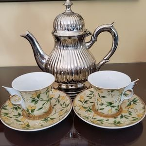 Imperial Design Set of 2 Demitasse Cups & Saucers